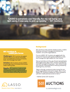 501 Auctions, customer of LASSO event workforce management