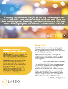 OVATION, customer of LASSO event workforce management