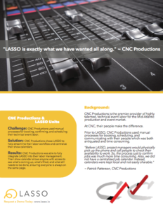 CNC Productions, customer of LASSO event workforce management