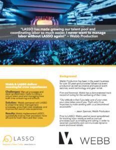 Webb Event Production, customer of LASSO event workforce management